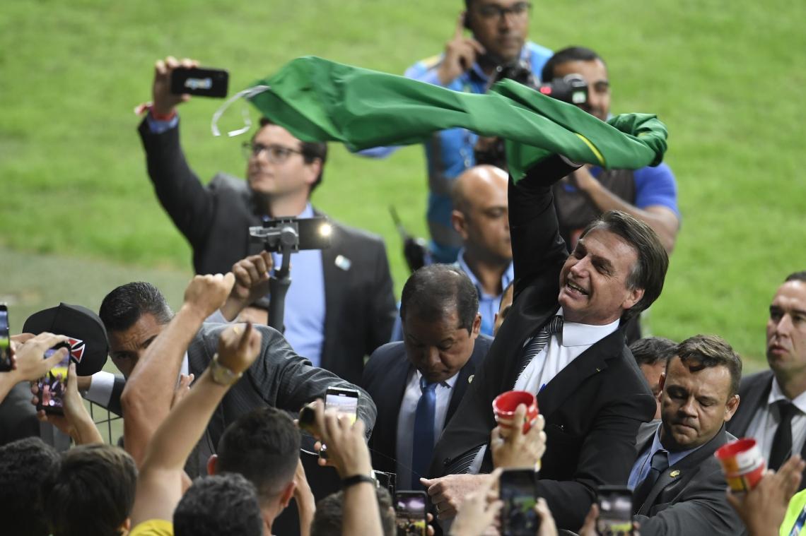 Jair Bolsonaro durante o jogo do Brasil contra a Argentina