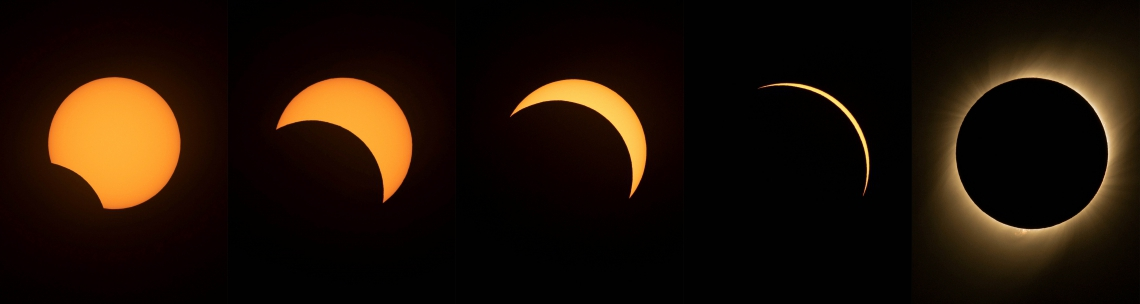 (COMBO) This combination of pictures created on July 02, 2019 shows different stages of the solar eclipse as seen from the La Silla European Southern Observatory (ESO) in La Higuera, Coquimbo Region, Chile. - Tens of thousands of tourists braced Tuesday for a rare total solar eclipse that was expected to turn day into night along a large swath of Latin America's southern cone, including much of Chile and Argentina. (Photos by MARTIN BERNETTI / AFP)