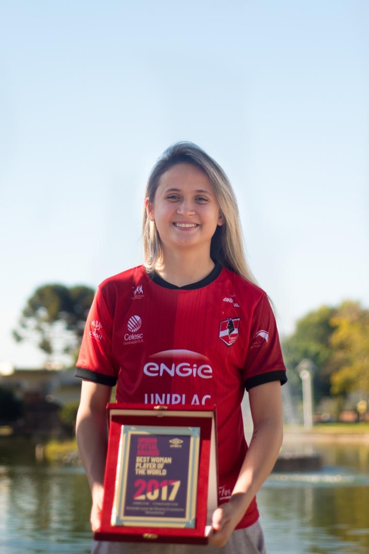 Amandinha, jogadora cearense de futsal, cinco vezes escolhida a melhor do mundo na modalidade
