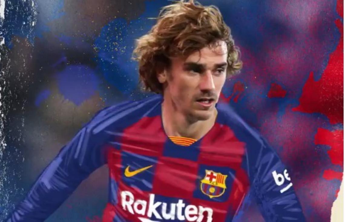 Arte divulgada pelo clube catalão para fazer o anúncio da contratação.