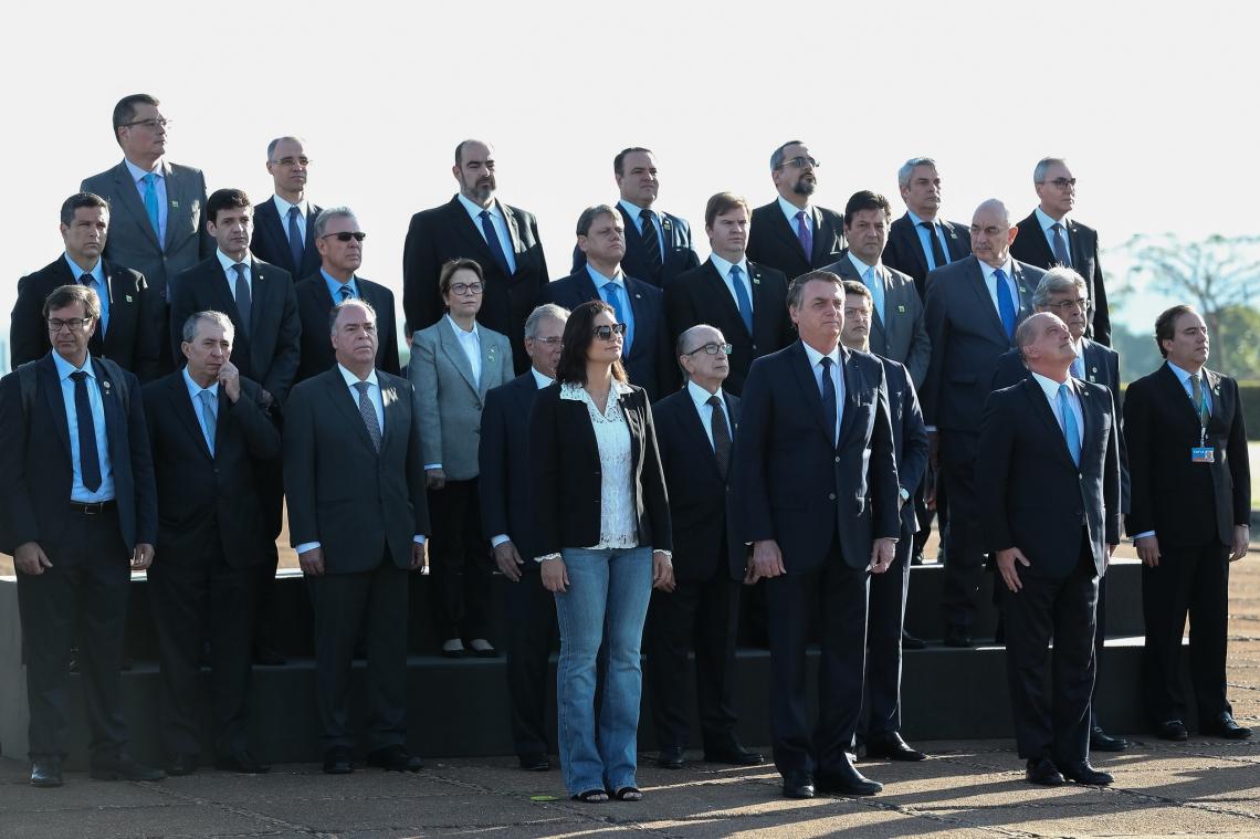 Bolsonaro participou de cerimônia de hasteamento da Bandeira Nacional, no palácio da Alvorada