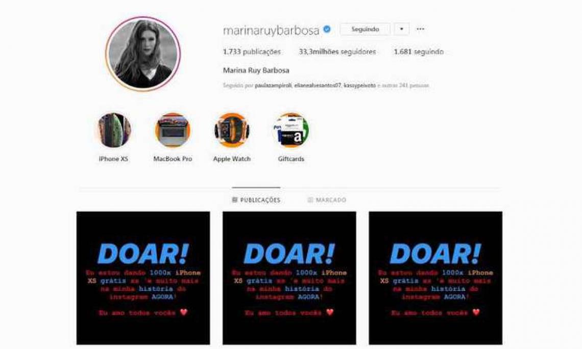 Marina Ruy Barbosa recupera Instagram hackeado.