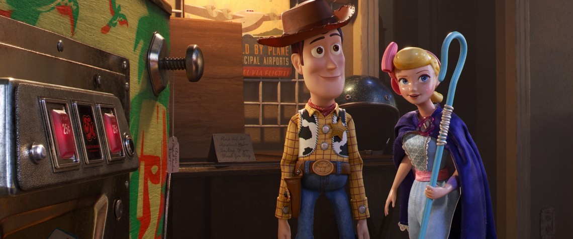 """CLOSE QUARTERS â."""" In Disney and Pixarâ..s â.œToy Story 4,â.. Bo Peep takes Woody to a secret hangout within the antique storeâ.""""the inside of a vintage pinball machineâ.""""where a lot of toys go to socialize. Featuring Annie Potts and Tom Hanks as the voices of Bo and Woody, â.œToy Story 4â.. opens in U.S. theaters on June 21, 2019. ©2019 Dinsey/Pixar. All Rights Reserved."""