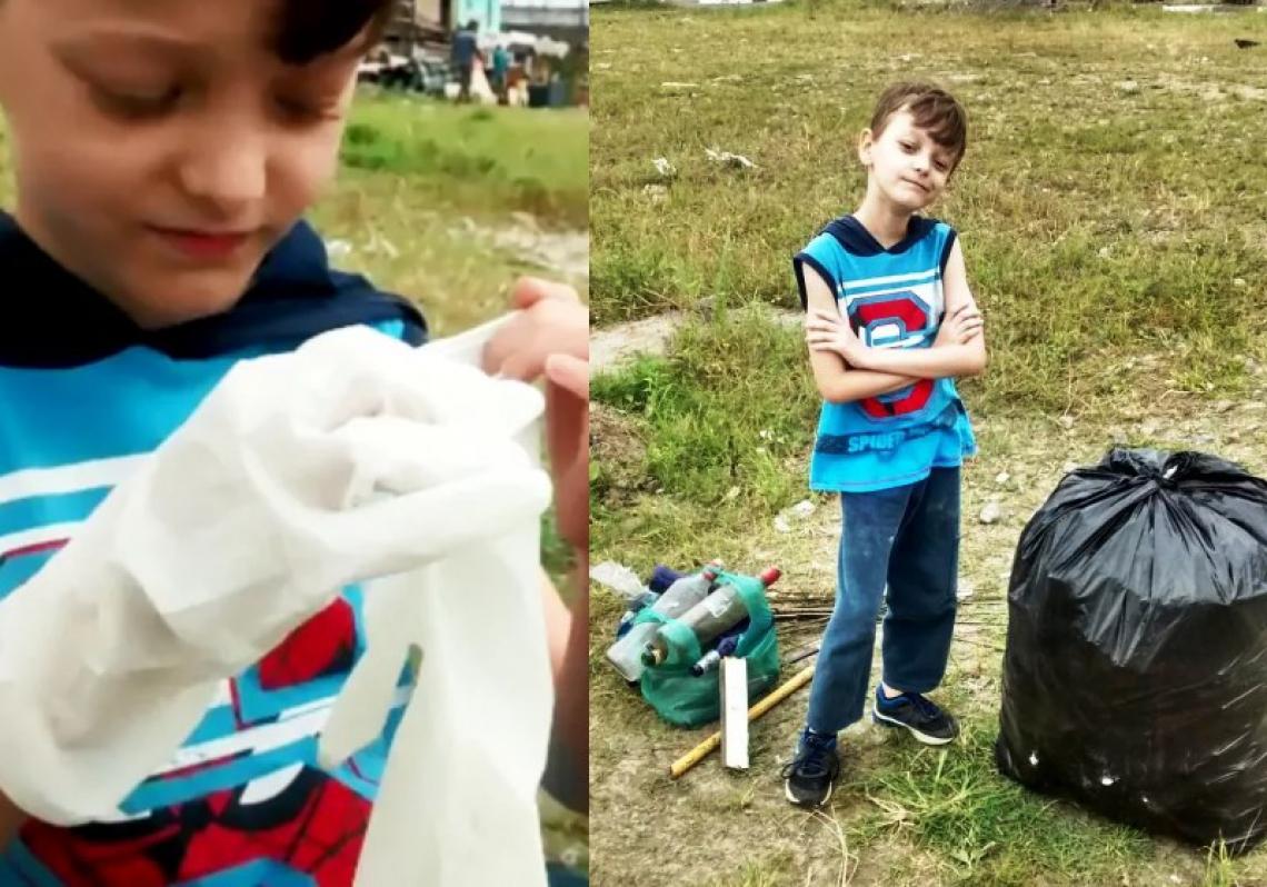 Limpeza aconteceu após o garotinho se incomodar com sujeira no local