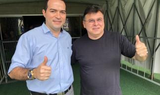 Marcelo Paz (e) e Robinson de Castro (d), presidentes de Fortaleza e Ceará, respectivamente.