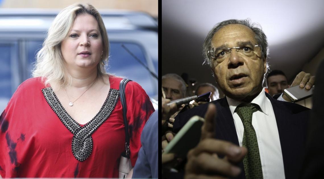 A deputada federal eleita por São Paulo, Joice Hasselmann (PSL) e o ministro da Economia, Paulo Guedes