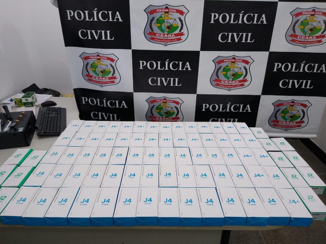 Carga de celulares roubados foi apreendida no Ceará pela Polícia Civil no dia 15 de maio.