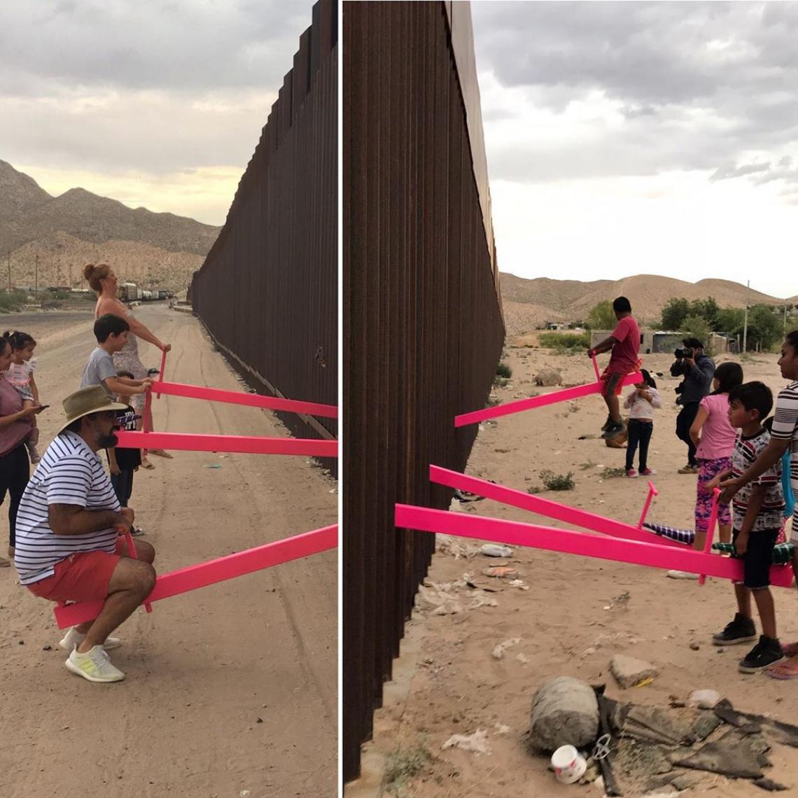 Arquitetos norte-americanos instalam gangorras na fronteira entre EUA e México.