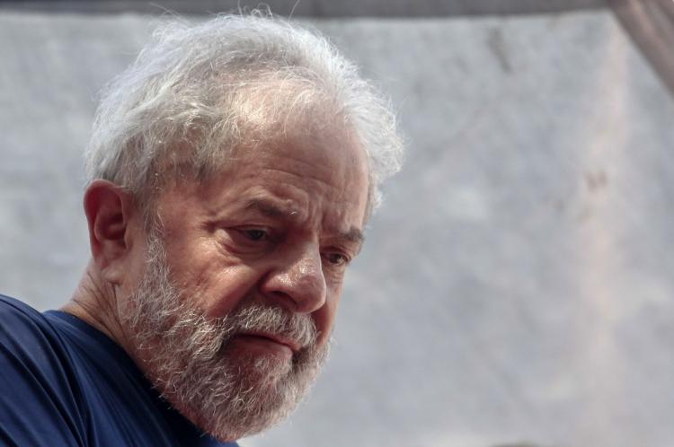 Lula no dia em que foi preso, em abril de 2018