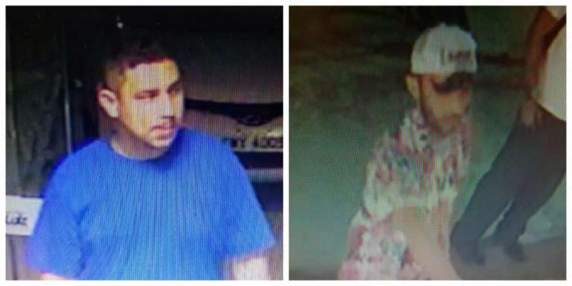 A Polícia Civil divulga imagens de dois suspeitos dos caso de roubo no estacionamento de um supermercado na Aldeota