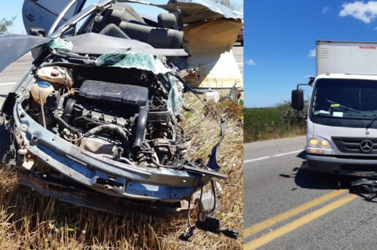 Colisão frontal entre um Voyage e um caminhão vitimou três pessoas nesse sábado, 10, na BR 116.