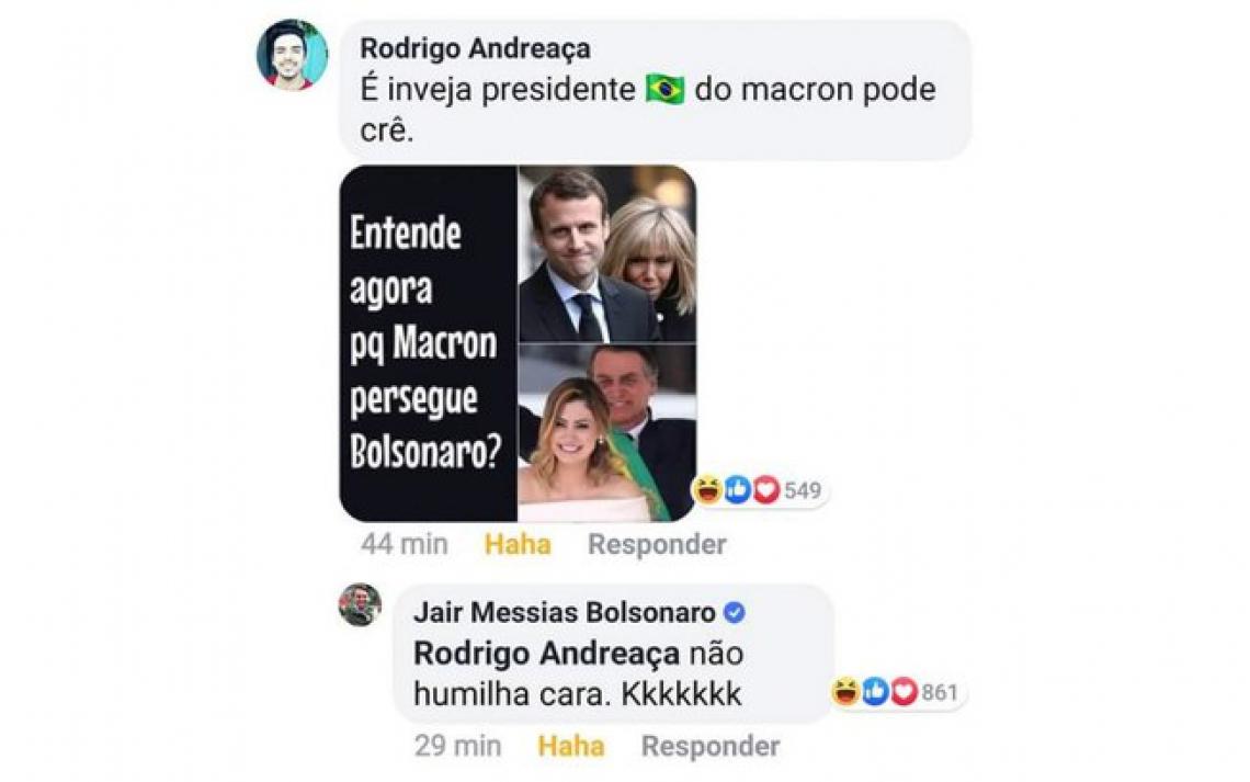 Após um seguidor postar um meme em que comparava as características físicas de Michelle Bolsonaro e a primeira-dama francesa, Brigitte Macron, o perfil oficial do presidente no Facebook respondeu em tom de sarcasmo: