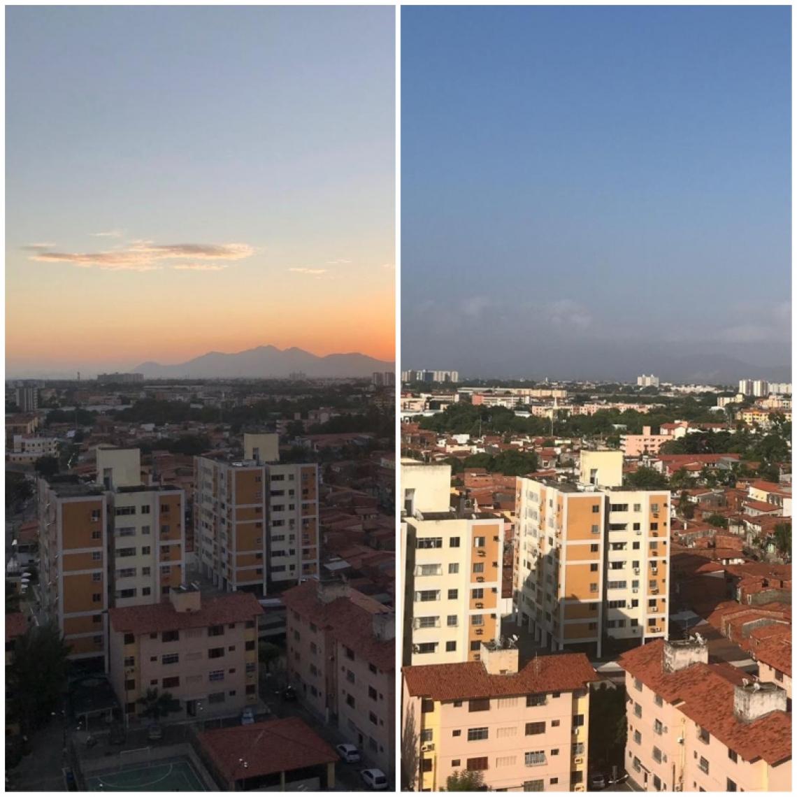 À esquerda, vista do céu dias antes do pico de queimadas na África. À direita, foto registrada no dia 20 de agosto