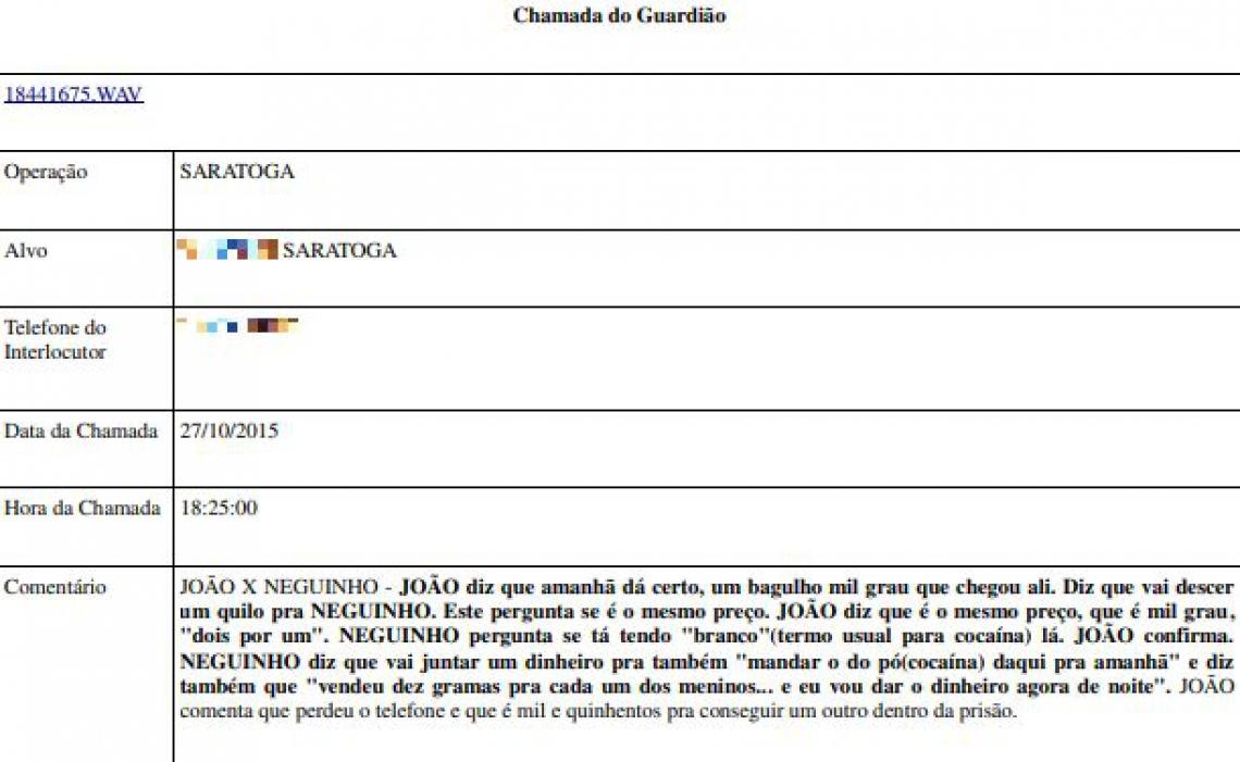 Documento mostra as interceptações telefônicas que descobriram as negociações de detentos