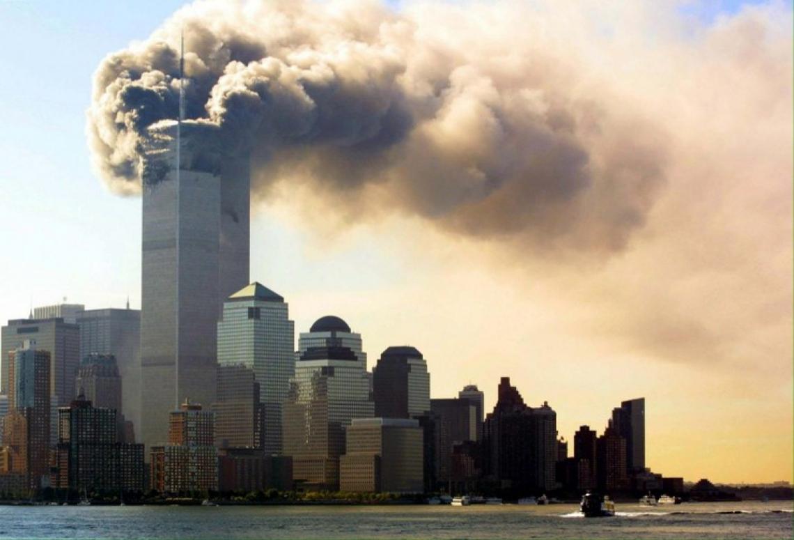 Minutos após o ataque, em 2001