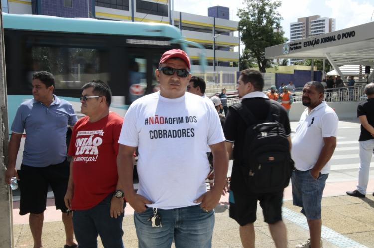 Protesto dos cobradores de ônibus na inauguração de Estacão do BRT na Aguanambi, em dezembro de 2018
