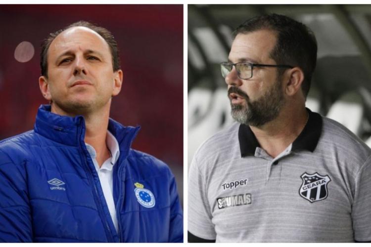 Ceni (e) e Enderson (d): duelo à parte entre os técnicos nesta quarta-feira.  (Foto: Cruzeiro/Divulgação/FCO Fontenele/O POVO)