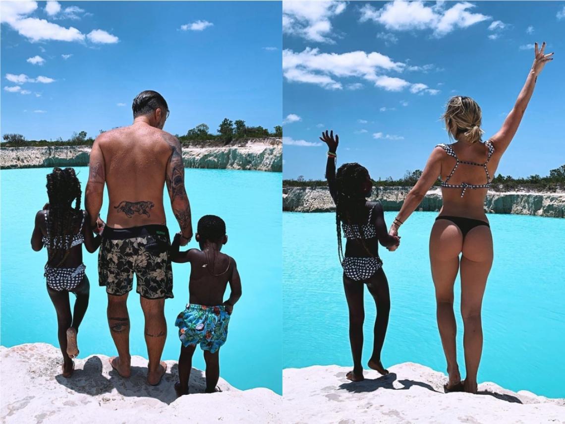 Bruno Gagliasso e Giovanna Ewbank curtem férias ao lado dos filhos em lagoa próxima a Jericoacoara.