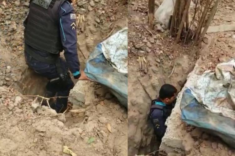 Polícia desmonta laboratório subterrâneo de drogas na Comunidade Mana, nesta sexta-feira, 11, em Fortaleza