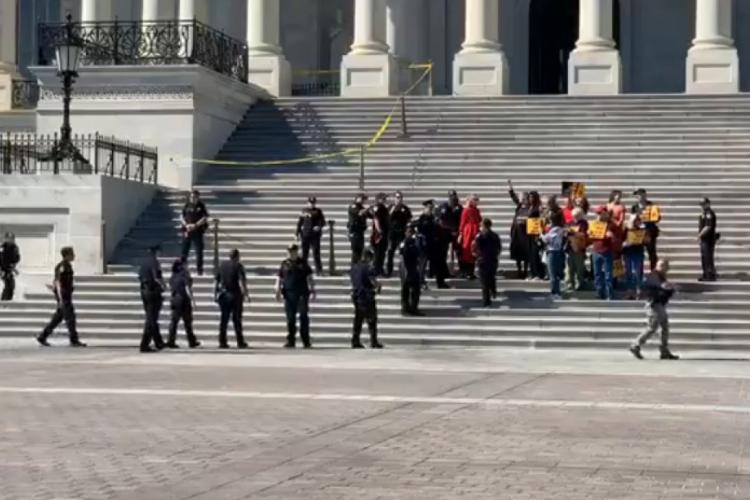 O protesto aconteceu nas escadarias do Capitólio, sede do Congresso dos EUA. A atriz e outros manifestantes foram detidos (Foto: Reprodução/Vídeo)