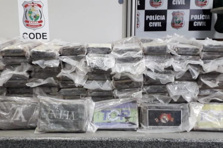 Mais de 600 quilos de cocaína foram apreendidos pela PCCE nesta terça-feira, 15.