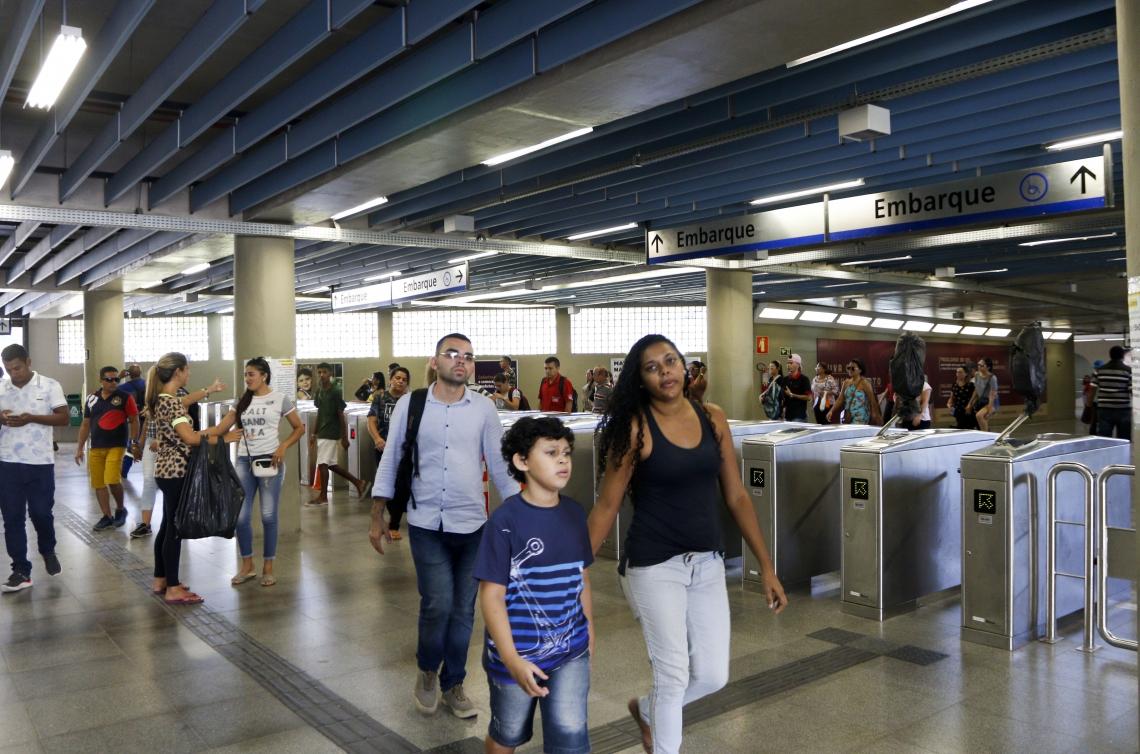 A estação Chica da Silva, no Centro, é uma das mais movimentadas do metrô de Fortaleza. Ela faz parte da Linha Sul