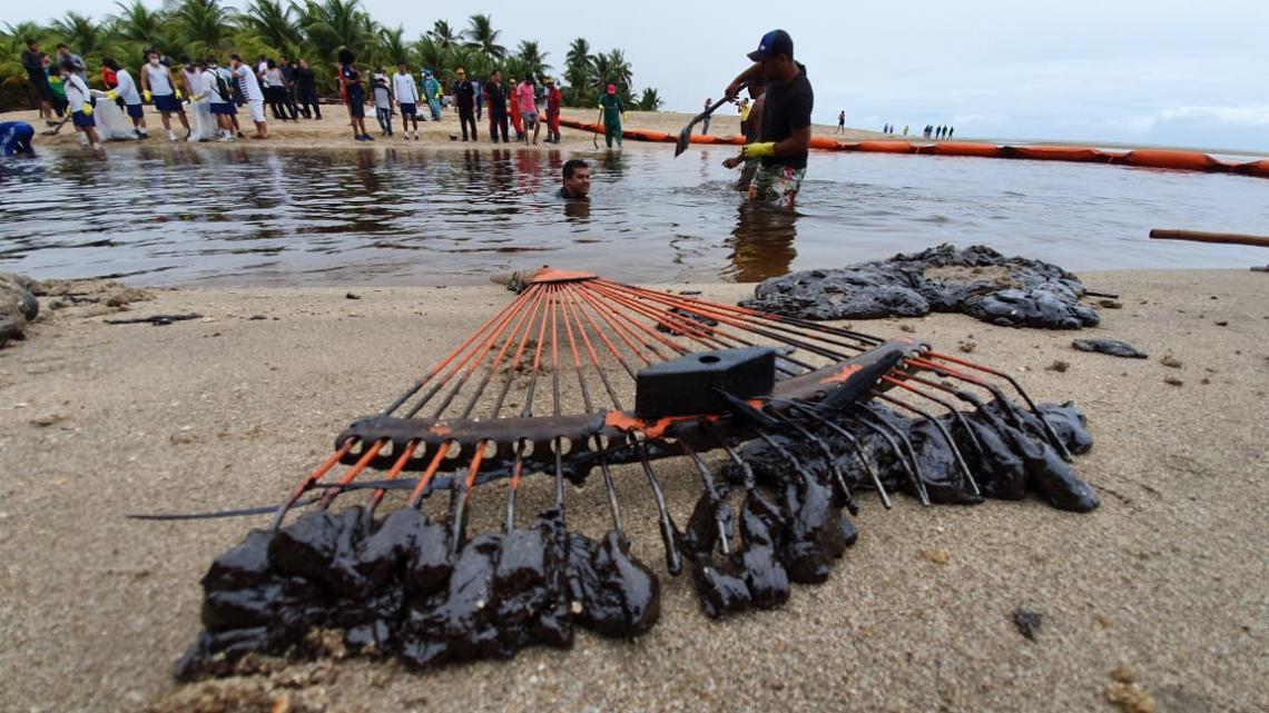POPULAÇÃO une esforços para conter manchas de óleo em praias de Pernambuco  (Foto: Arnaldo Carvalho/JC Imagem)