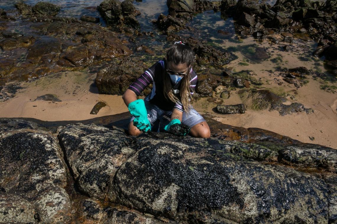 Voluntário limpa óleo de rochas na praia da Pedra do Sal, em Salvador, Bahia, Brasil. Um enorme derramamento de óleo na costa nordeste do Brasil, que manchou mais de 130 praias