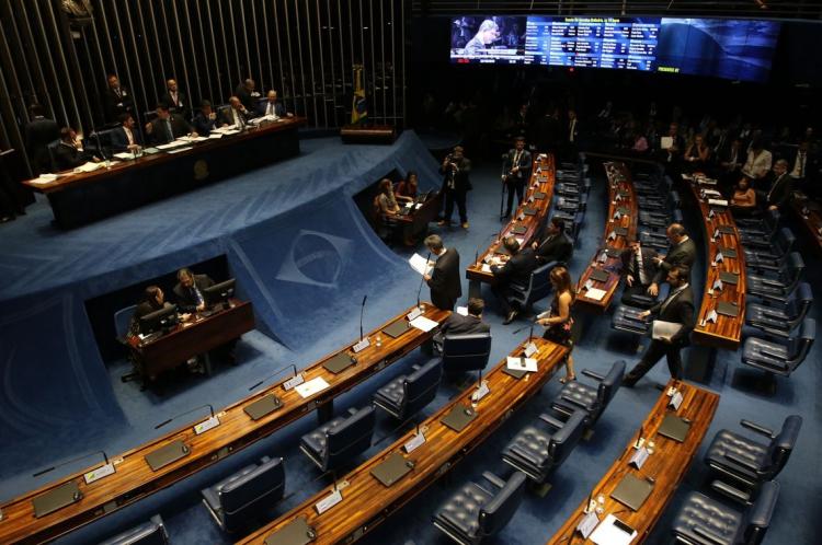 O presidente do Senado, Davi Alcolumbre, durante sessão plenária para votação da PEC 6/2019, que reforma o sistema previdenciário.