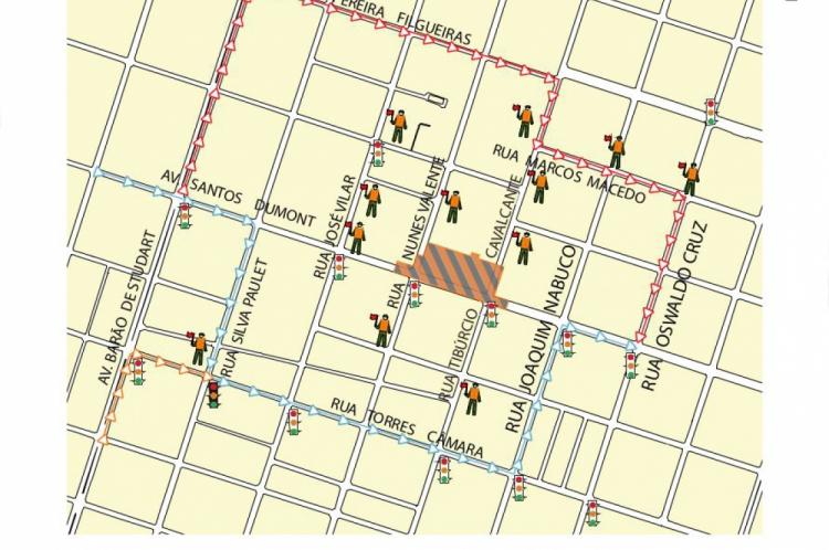 Mapa de trechos que terão desvio por conta de obra da linha leste do Metrô de Fortaleza