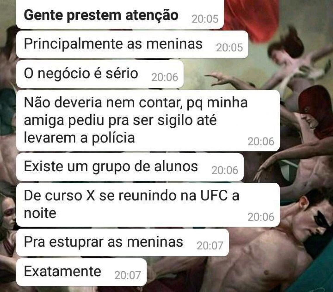 Alerta em grupo de Whatsapp entre alunos da UFC