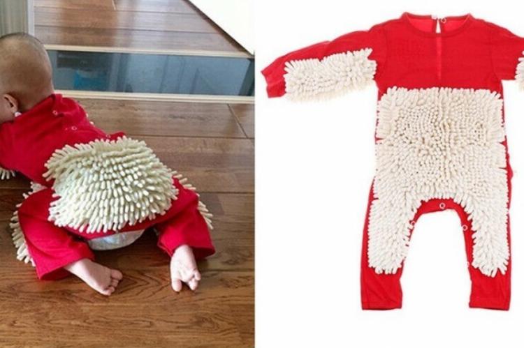 As fibras são localizadas nos pontos de contato do bebê com o chão, o que permitiria que, enquanto a criança aprenda a engatinhar, limpe a casa.