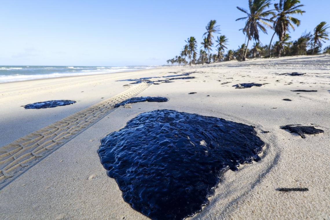 MANCHAS de óleo na praia do Cumbuco: origem do desastre ambiental ainda não foi identificada