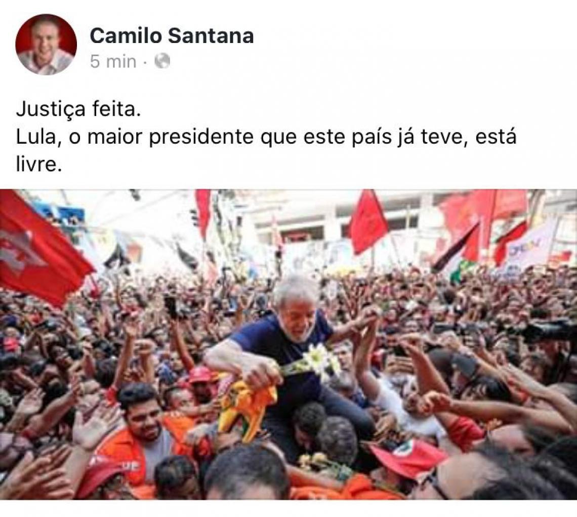 Camilo comemora em sua página no Facebook
