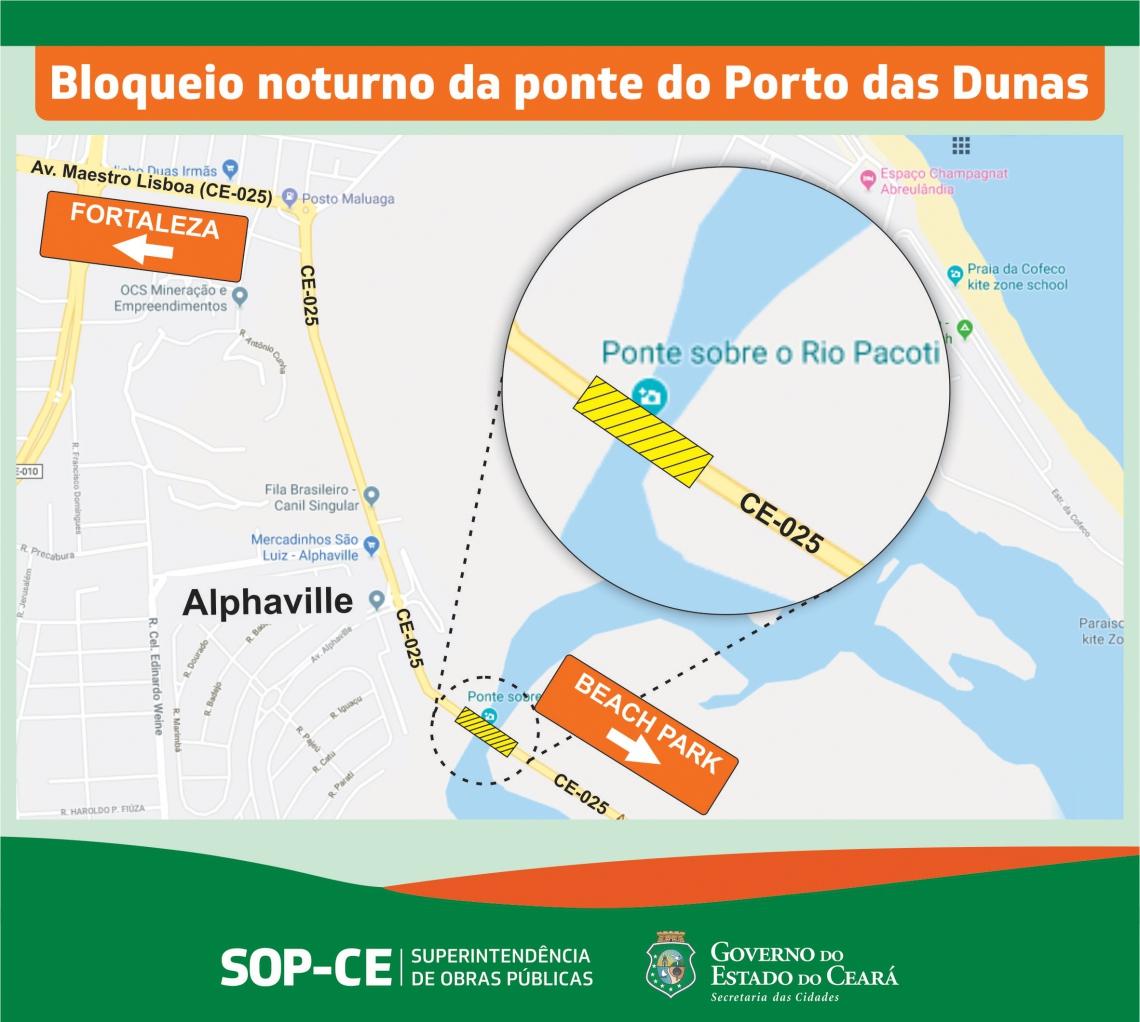 Os motoristas que transitarem pelo local entre às 23 horas e 5h30min desse período devem usar rota alternativa através da CE-040.