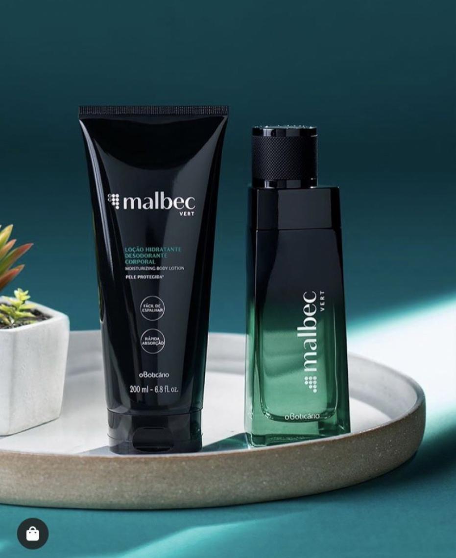 A embalagem do Malbec Vert em tons de verde é sofisticada e reflete a tendência da perfumaria mundial (Divulgação)