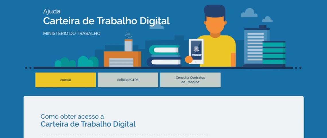 Página eletrônica do Ministério do Trabalho onde é possível obter carteira de trabalho digital