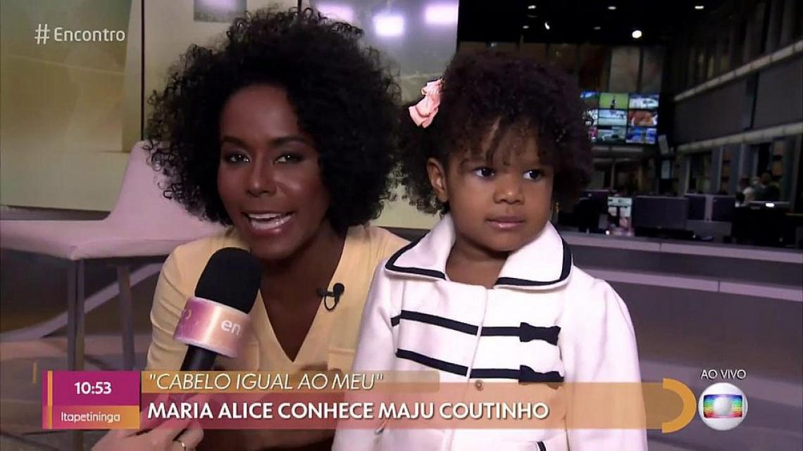 Maria Alice, de 2 anos, conheceu a jornalista Maju Coutinho