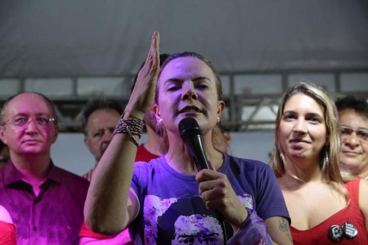 Gleisi Hoffmann reagiu a críticas de Ciro Gomes contra o ex-presidente Lula (Foto: JÚLIO CAESAR)