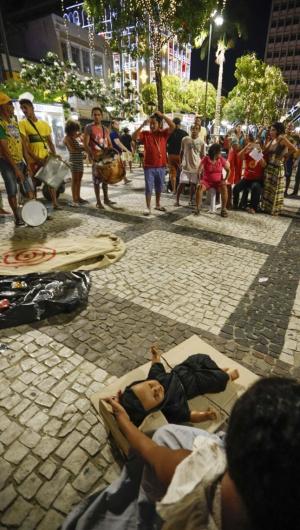 Fortaleza, CE, BR - Ato público pela população de rua na Praça do Ferreira (Foto: Fco Fontenele/O POVO)