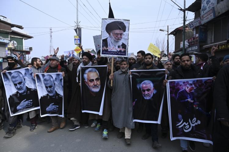 Protesto no Irã após a morte do comandante Qasem Soleimani, em bombardeio dos EUA