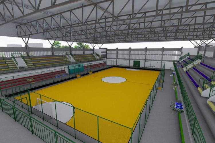 O projeto prevê reforma das arquibancadas, pintura da quadra e área externa do ginásio, entre outras intervenções