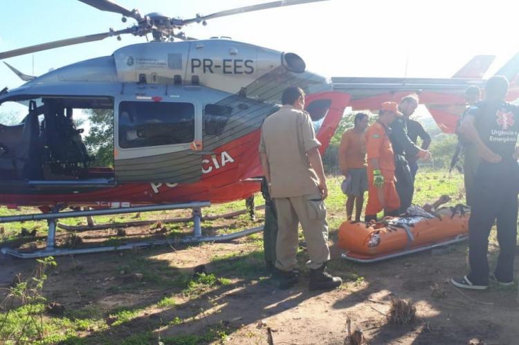 O homem foi levado para o Hospital Regional do Cariri pela Ciopaer