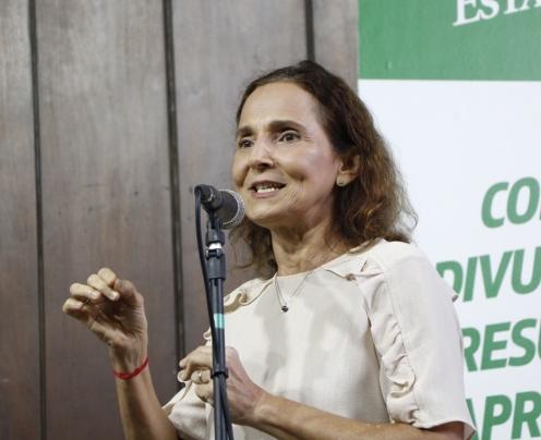 Izolda Cela, vice-governadora do Estado, durante os resultados da Spaece 2019.