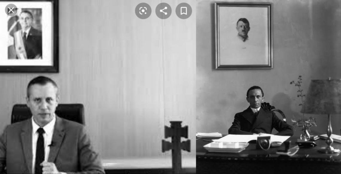 À direita, Goebbels, e foto de Hitler ao fundo. À esquerda, Alvim, e foto de Bolsonaro ao fundo