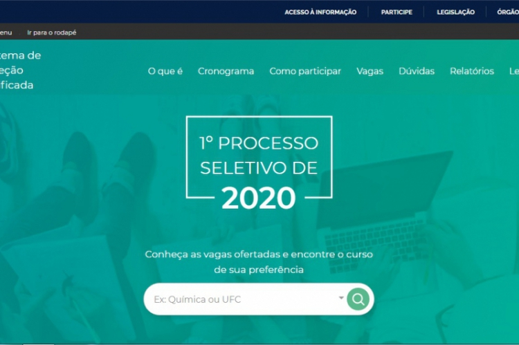 Homepage do site oficial do Sisu 2020, seleção continua sendo realizada até domingo