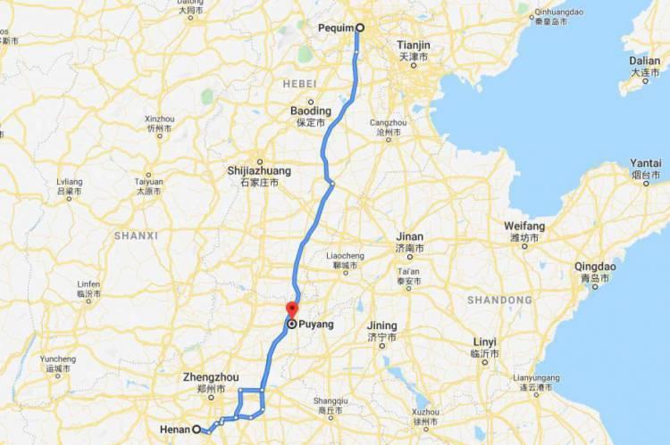 Percurso realizado pelo paciente morador de Sobral, que está com suspeita de coronavírus, na China