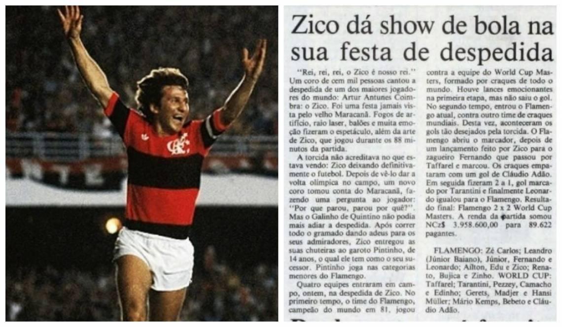 Reprodução da reportagem publicada pelo O POVO na edição do dia 7 de fevereiro de 1990, no dia seguinte após a despedida de Zico.
