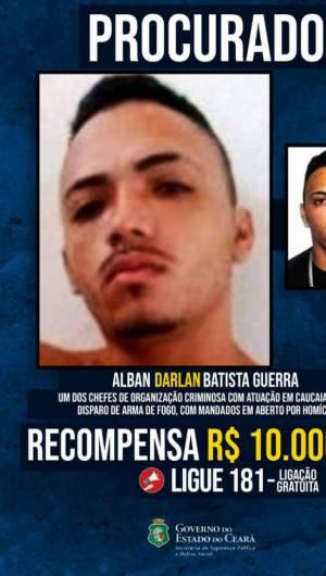 O valor de recompensa para o cidadão que identificar o paradeiro de Darlan é de R$ 10.000