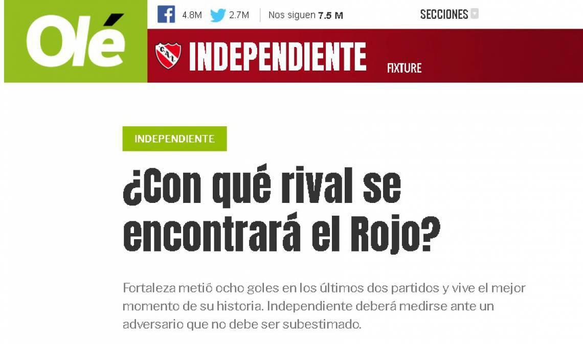 Jornal argentina sobre esportes, Olé cobra cautela do Independiente contra o Fortaleza